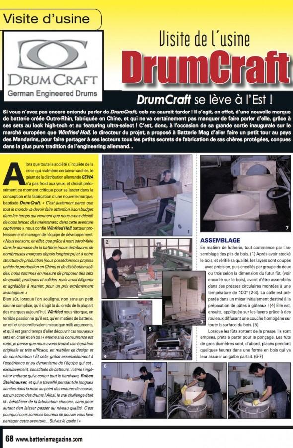 Visite de l'Usine DrumCraft – Batterie Magazine n°61