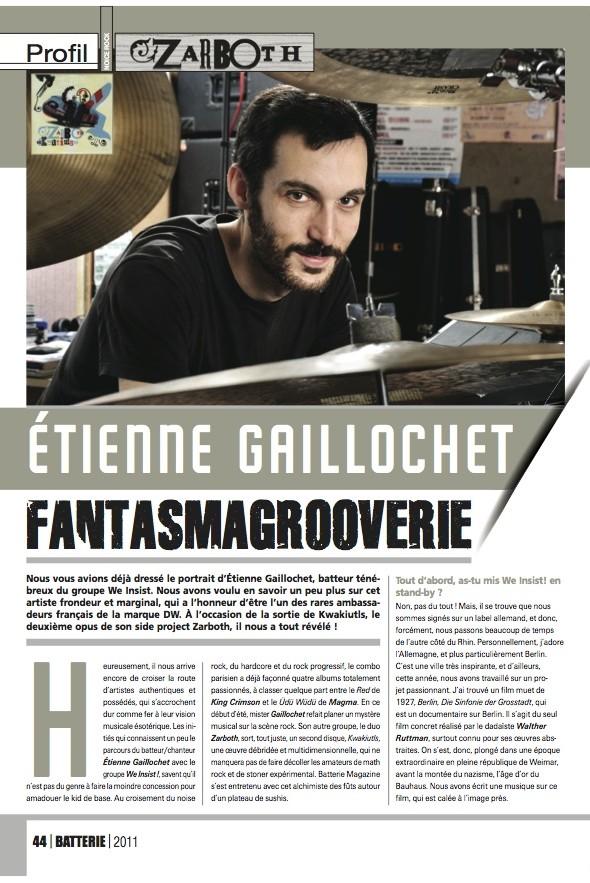 Etienne Gaillochet – Batterie Magazine n°80
