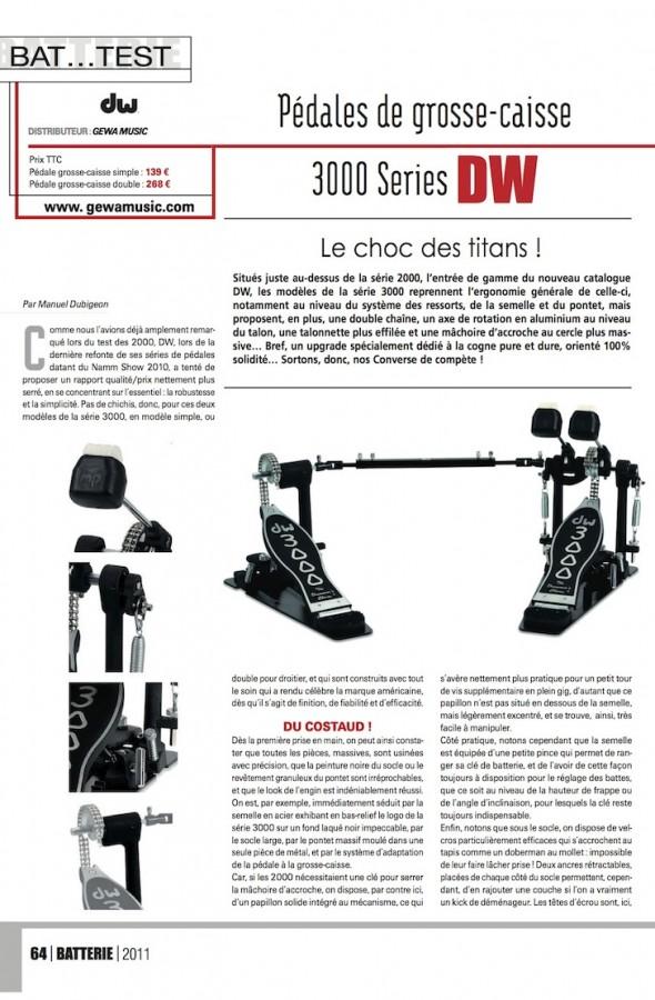 Pédale Grosse Caisse DW 3000 – Batterie Magazine n°84