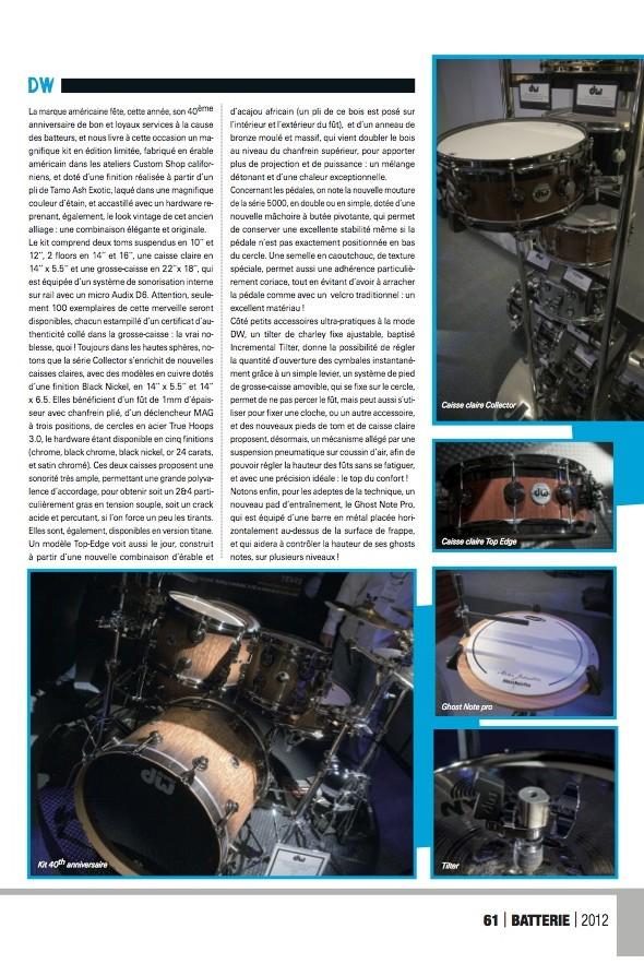 DW Namm 2012 – Batterie Magazine n°88