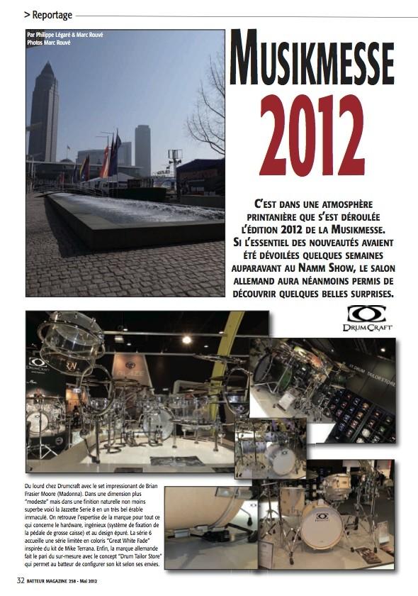DrumCraft / DW Francfort 2012 – Batteur Magazine n°258