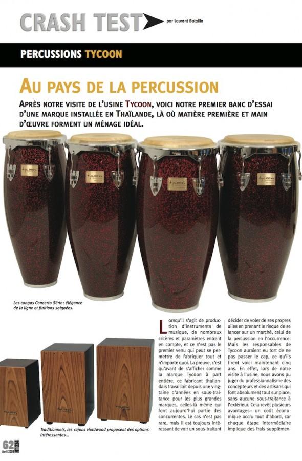Congas et Cajon Tycoon Percussions – Batteur Magazine n°224