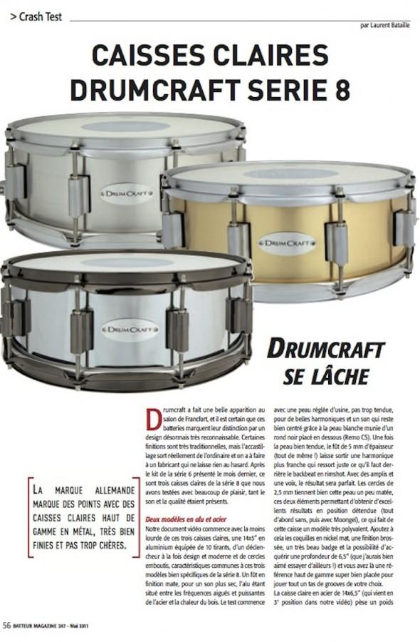Caisse Claire Série 8 DrumCraft – Batteur Magazine n°247