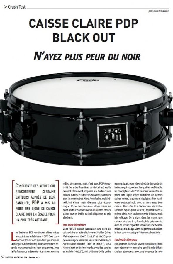 Caisse Claire Black Out PDP – Batteur Magazine n°254