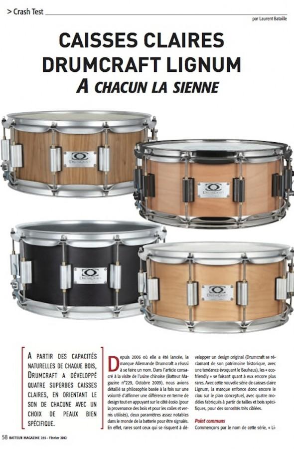 Caisse Claire Lignum DrumCraft – Batteur Magazine n°255