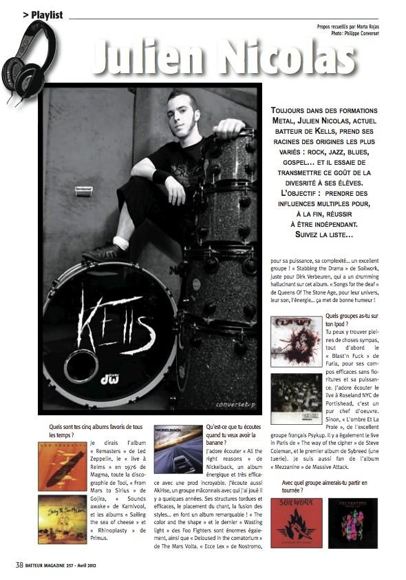 Julien Nicolas – Batteur Magazine n°257