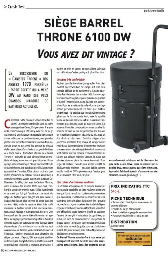 Siège 6100 DW – Batteur Magazine n°258