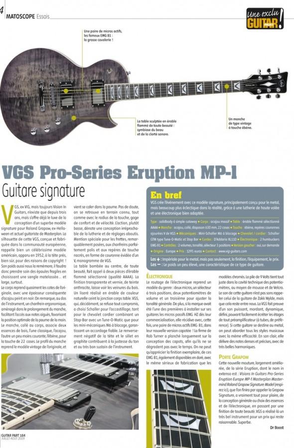 Eruption Pro Series MP-1 VGS – Guitar Part n°184