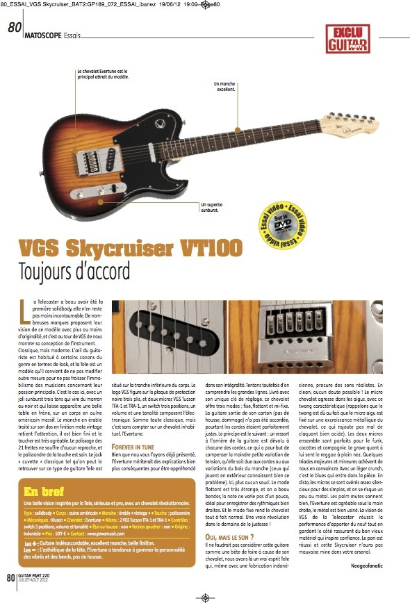 Skycruiser VTC-100 VGS – Guitar Part n°220