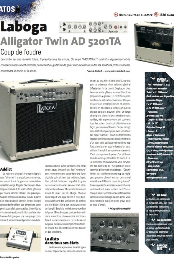 Alligator Twin AD5201TA Laboga – Guitarist Magazine n°220