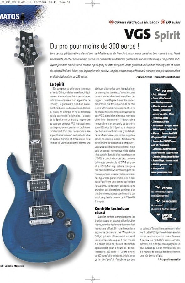 Spirit Select Series VGS – Guitarist Magazine n°223