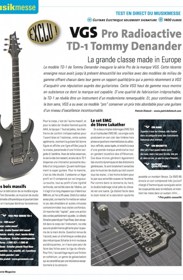Radioactive TD-1 VGS – Guitarist Magazine n°233