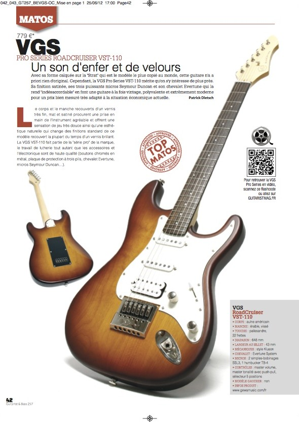 Roadcruiser Pro VST-110 VGS – Guitarist Magazine n°257