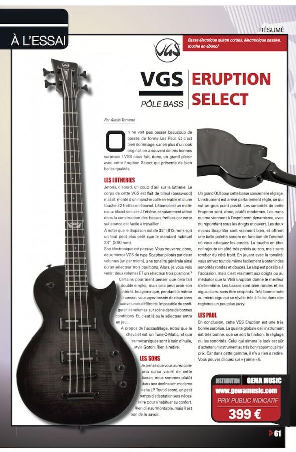 Eruption Select Series Basse VGS – Bassiste Magazine n°43