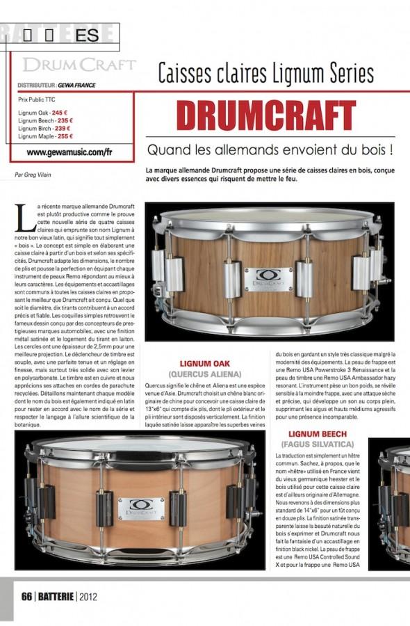 Caisses Claires Lignum DrumCraft – Batterie Magazine n°94