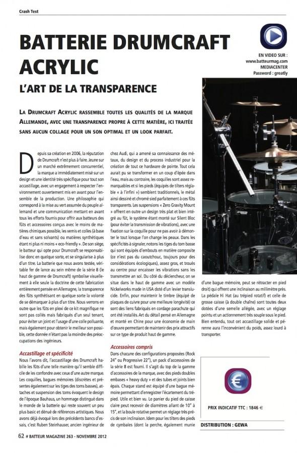 Set Série 8 Acrylique DrumCraft – Batteur Magazine n°263