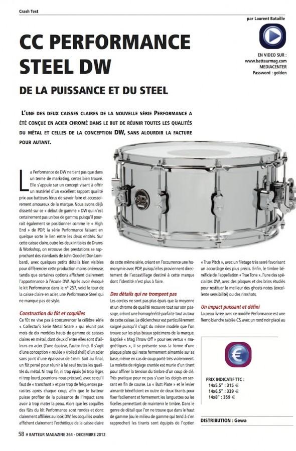 Caisses Claires Performance Acier DW – Batteur Magazine n°264