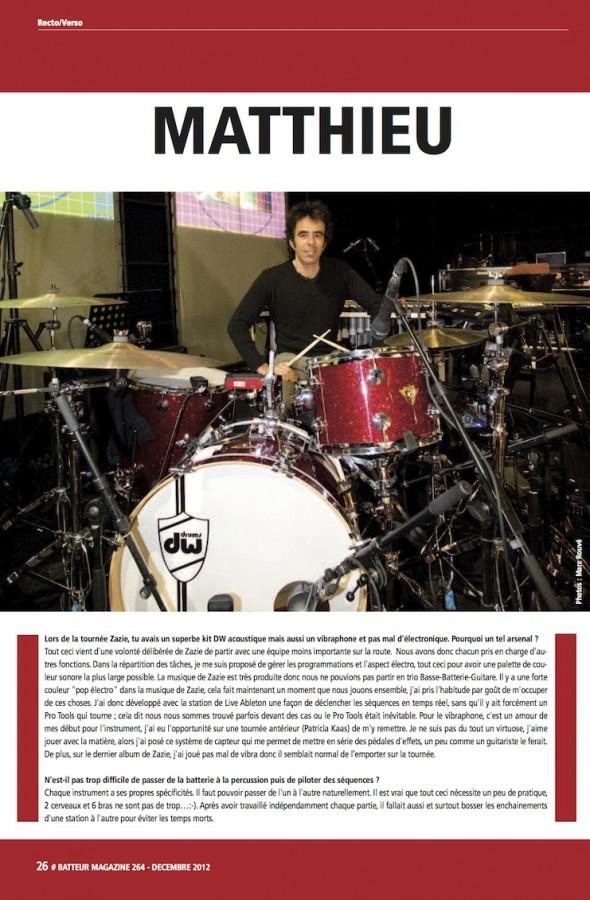 Matthieu Rabaté – Batteur Magazine n°264