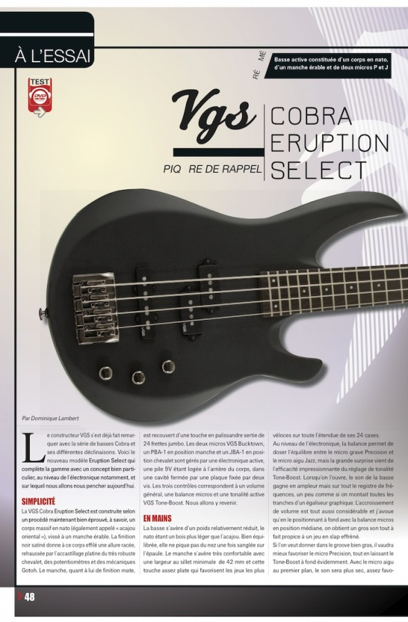 Basse Cobra Select Series VGS – Bassiste Magazine n°48