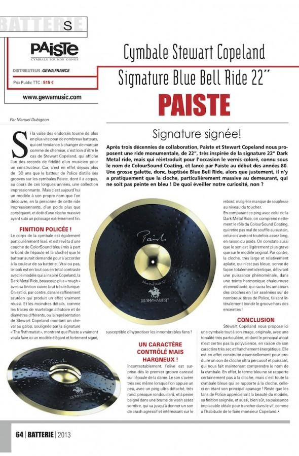 Signature Blue Bell Ride Paiste – Batterie Magazine n°102