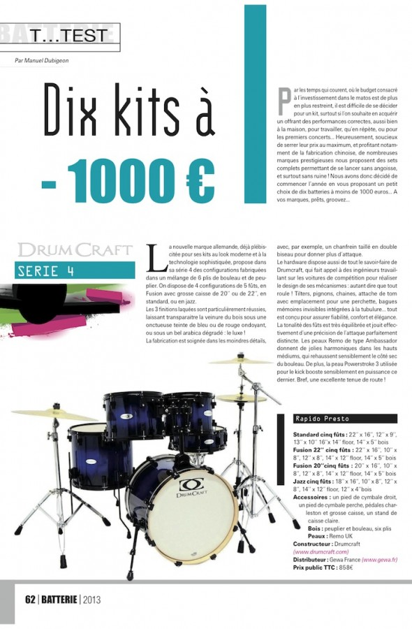 Set Serie 4 DrumCraft – Batterie Magazine n°98