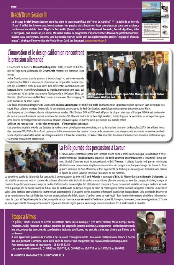 News DW DrumCraft – Batteur Magazine n°271