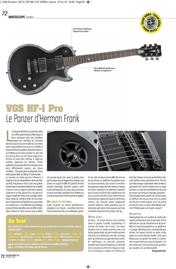 HF-1 Pro Frank Hermann VGS – Guitar Part n°227