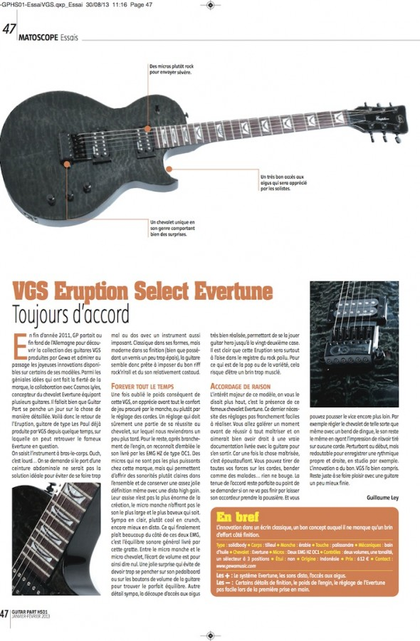 Eruption Select Evertune VGS – Guitar Part n°HS01