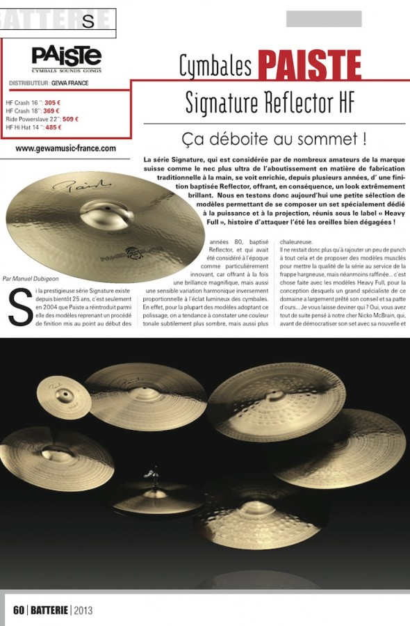 Signature Reflector HF Paiste – Batterie Magazine n°103
