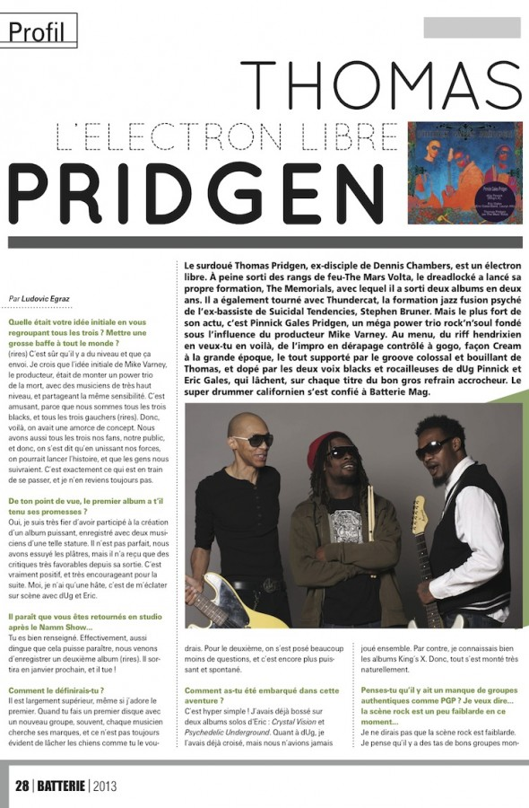 Thomas Pridgen – Batterie Magazine n°103