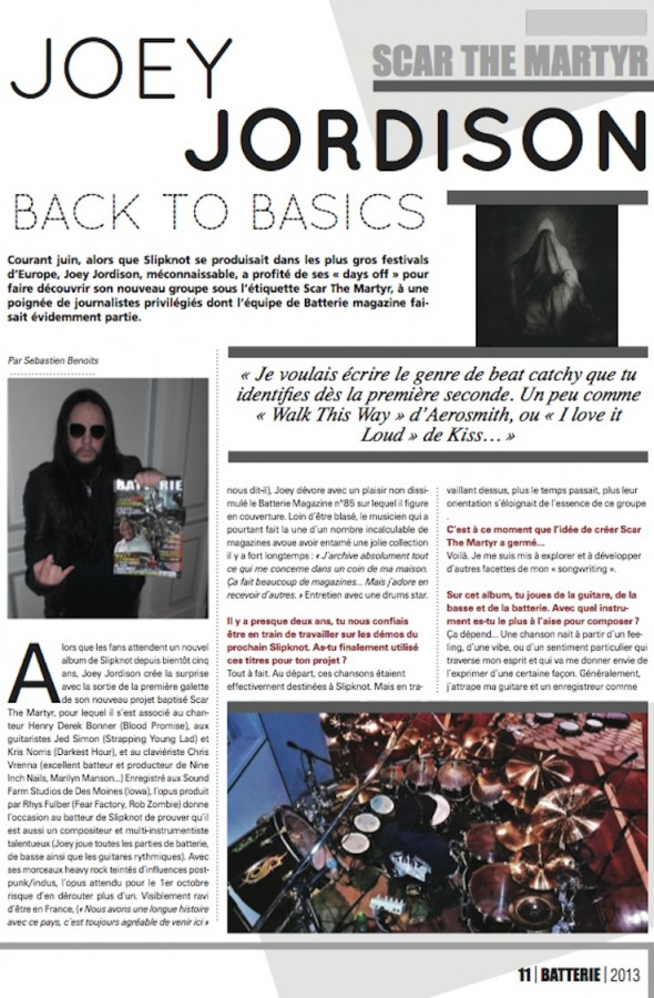 Joey Jordison – Batterie Magazine n°104
