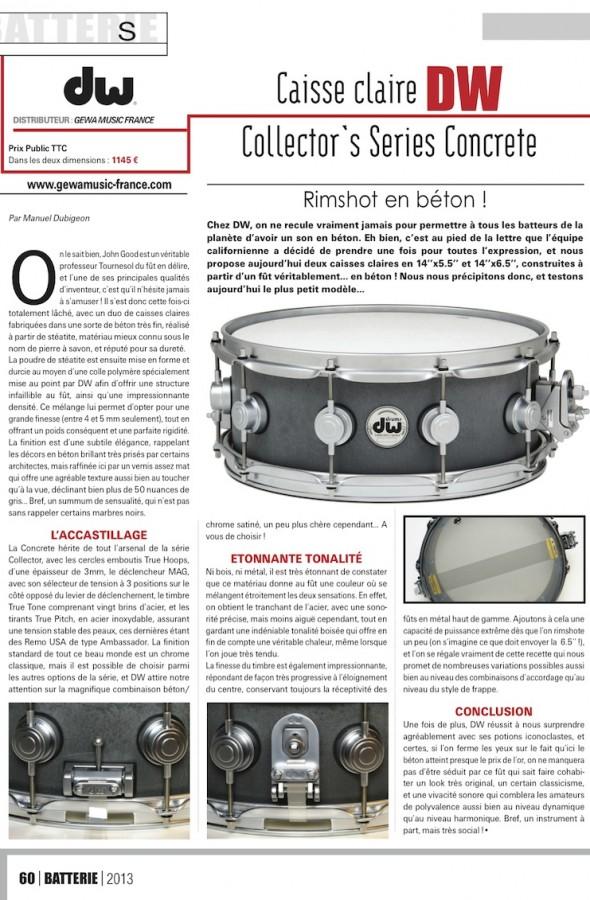 Concrete snare DW – Batterie Magazine n°105
