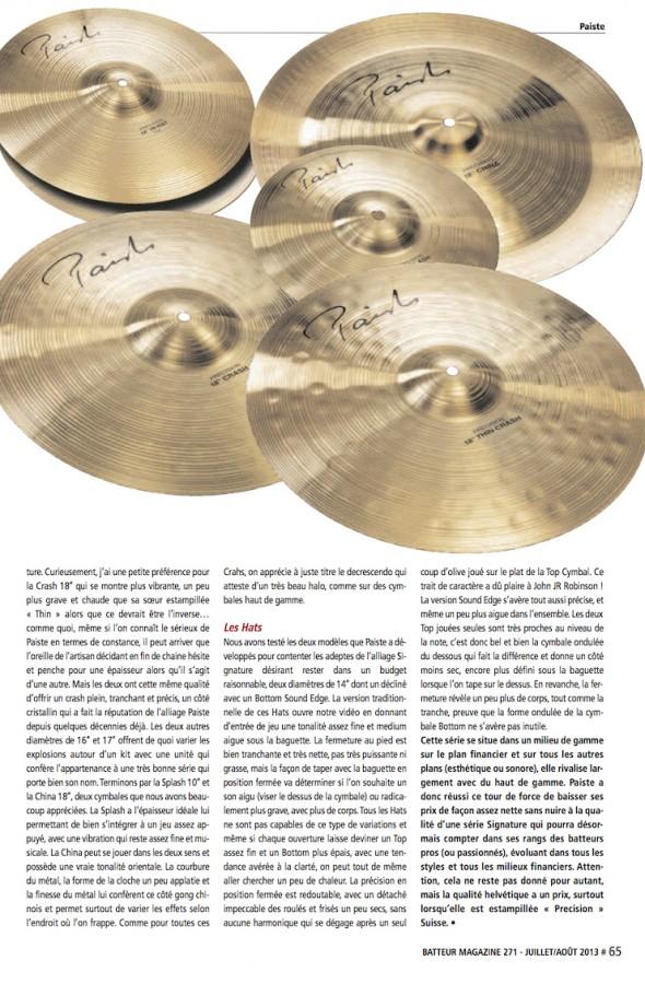 Signature Precision Paiste – Batteur Magazine n°271