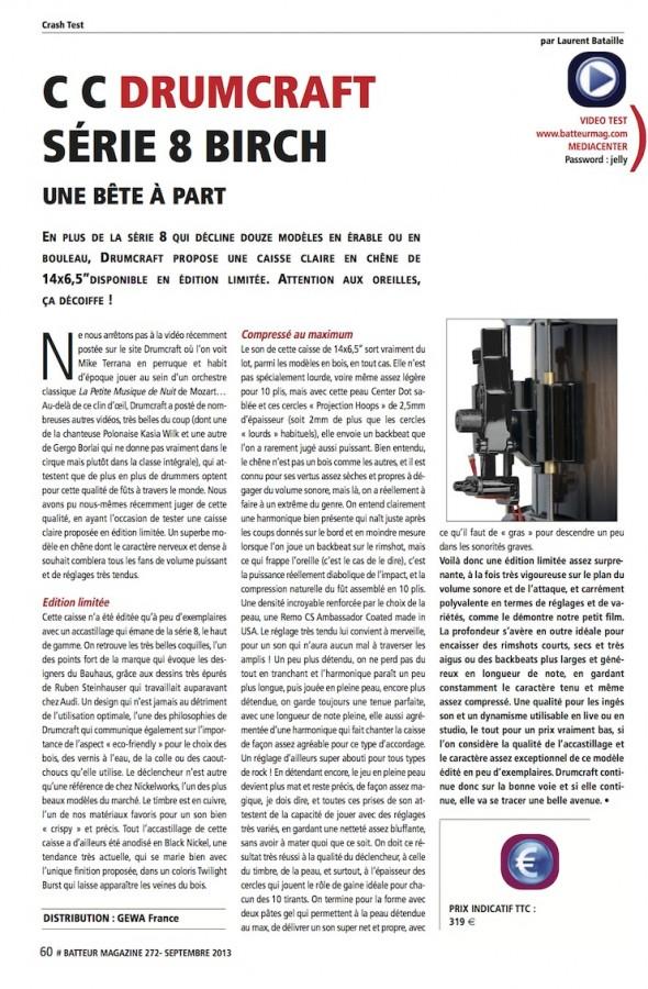 Caisse Claire Série 8 Chêne DrumCraft – Batteur Magazine n°272