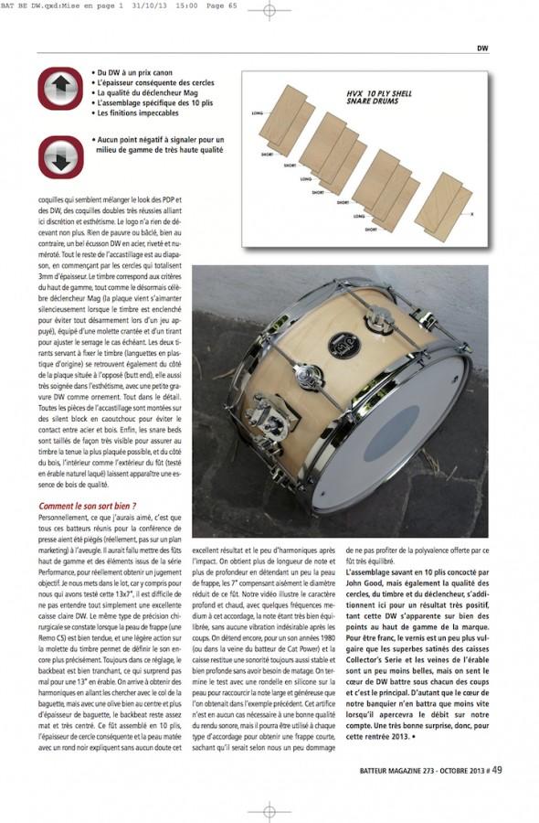 Caisse Claire Performance 13X7″ DW – Batteur Magazine n°273
