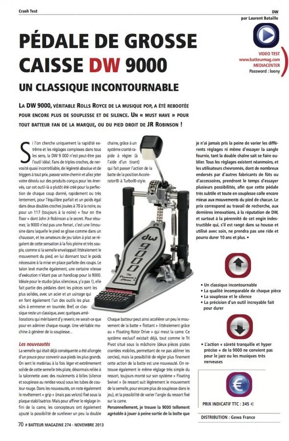 Pédale 9000 modèle 2013 DW – Batteur Magazine n°274