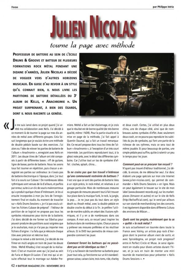 Julien Nicolas – Batteur Magazine n°274
