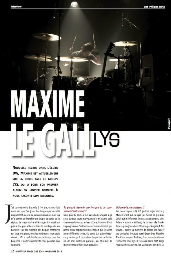 Maxime Le Gall – Batteur Magazine n°274