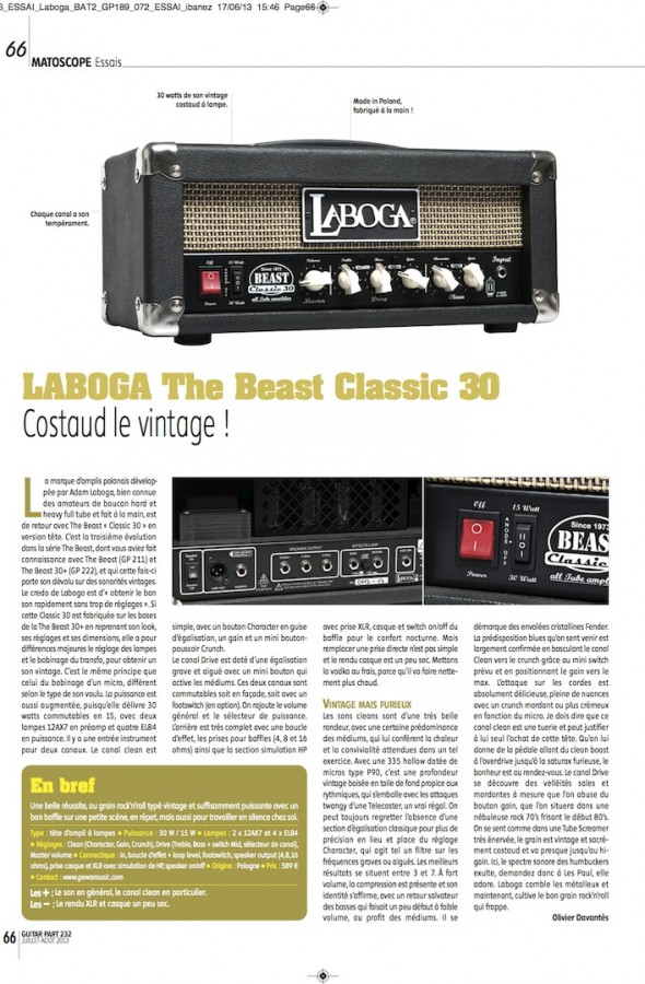 The Beast Classic 30 Laboga – Guitar Part n°232