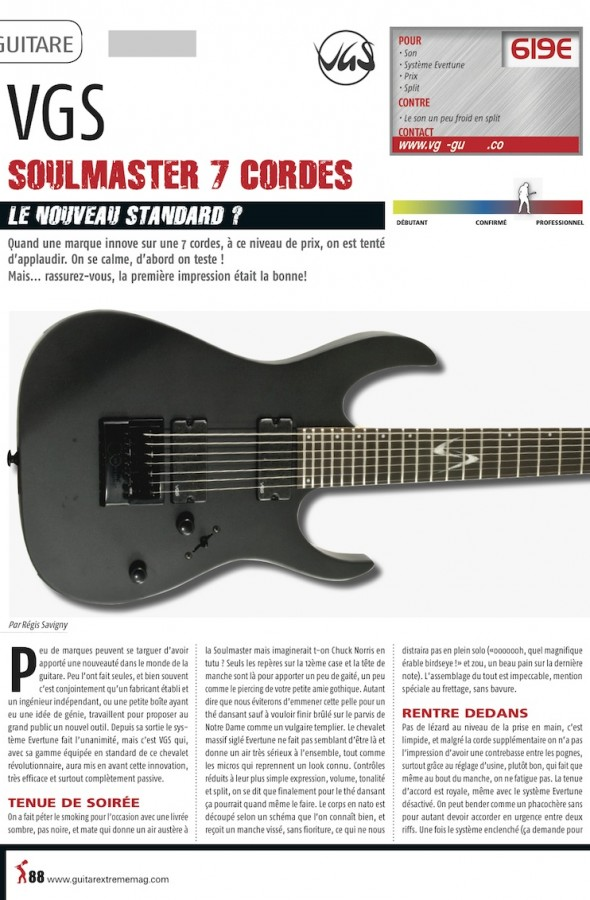 Soulmaster Select VSM-120/7 Evertune VGS – Guitar Xtreme n°57