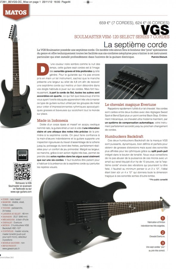 Soulmaster Select VSM-120/7 Evertune VGS – Guitarist Magazine n°261