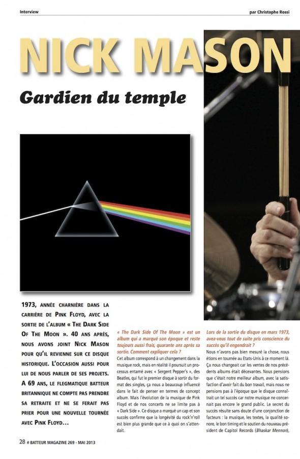Nick Mason – Batteur Magazine n°269