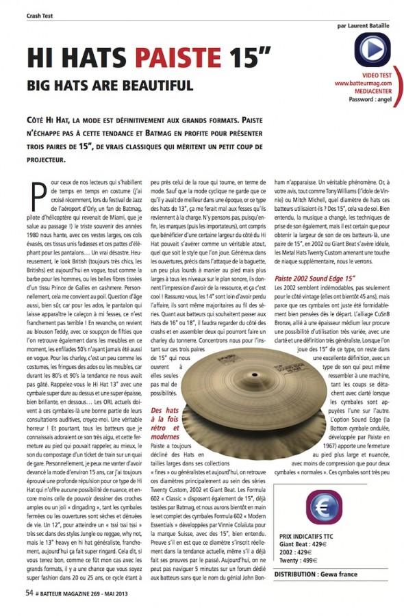 Charsletons 15″ Paiste – Batteur Magazine n°269