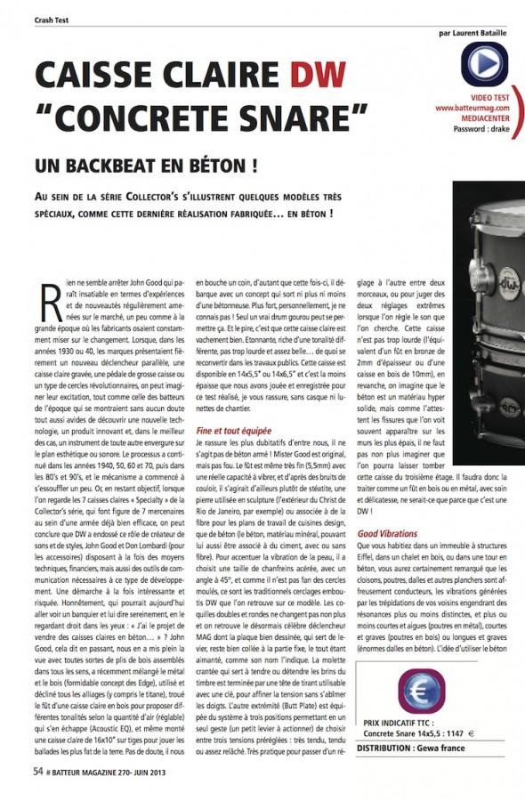 Concrete Snare DW – Batteur Magazine n°270