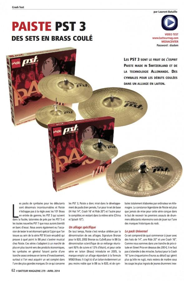Paiste PST3 – Batteur Magazine n°279