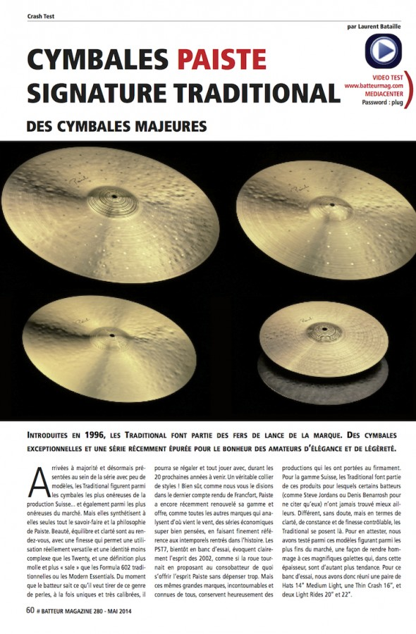 Paiste Signature Traditional – Batteur Magazine n°280