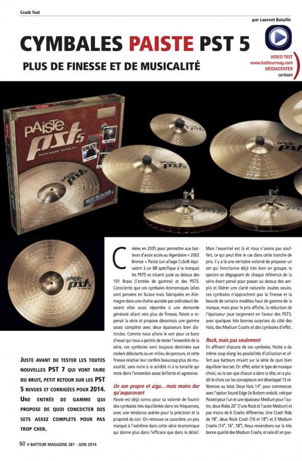 Paiste Nouvelles PST5 – Batteur Magazine n°281