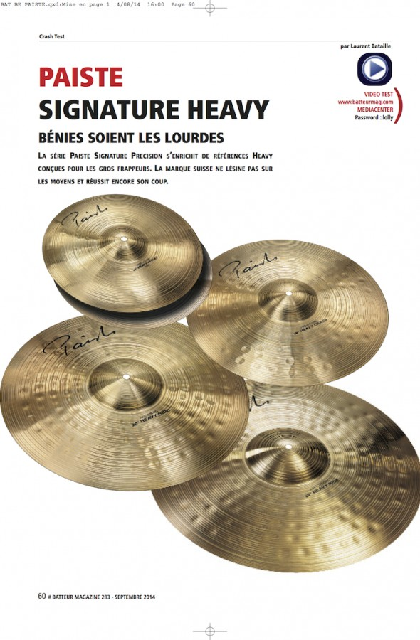 Paiste Signature Precision Heavy – Batteur Magazine n°283