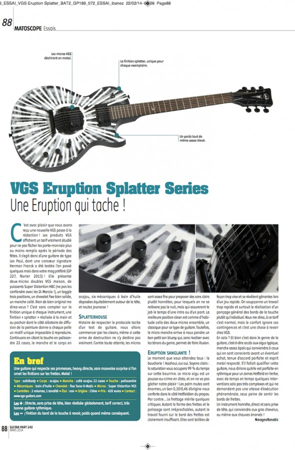 Eruption Select Flying Sparks VGS – Guitar Part n°240