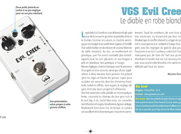 Evil Creek Distorsion Pédale d'Effet VGS – Guitar Part n°242